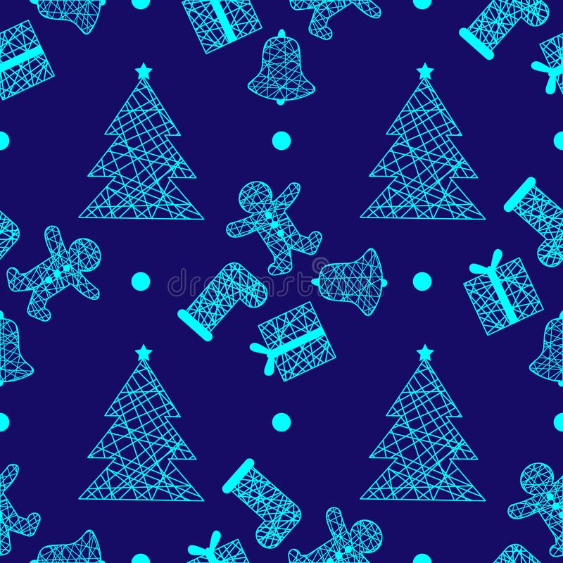New Year Christmas winter holidays seamless pattern with gifts, gingerbread, christmas tree and toys. 1 stock illustration