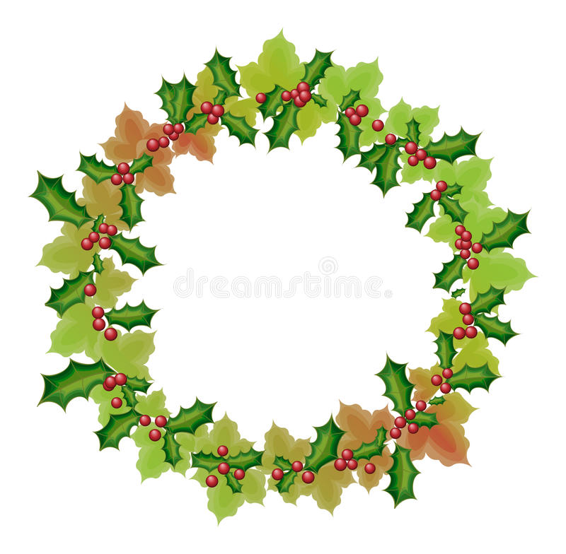 New year and christmas wreath vector illustration