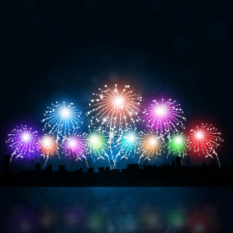 New Year City Fireworks. Newr year celebration multicolor fireworks in the city at night royalty free illustration