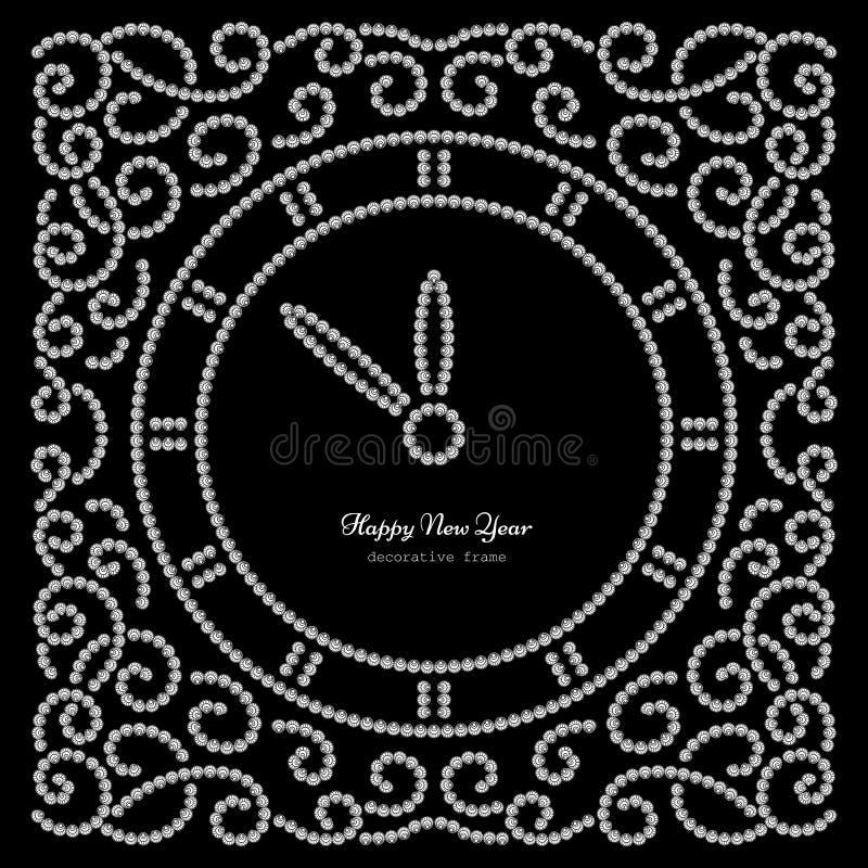 New Year clock on black vector illustration