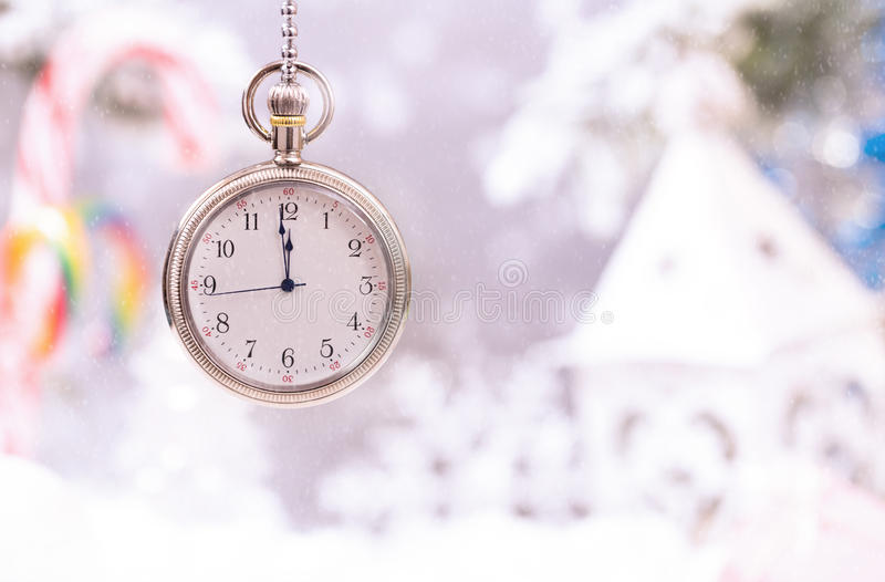 New year clock on christmas background stock images