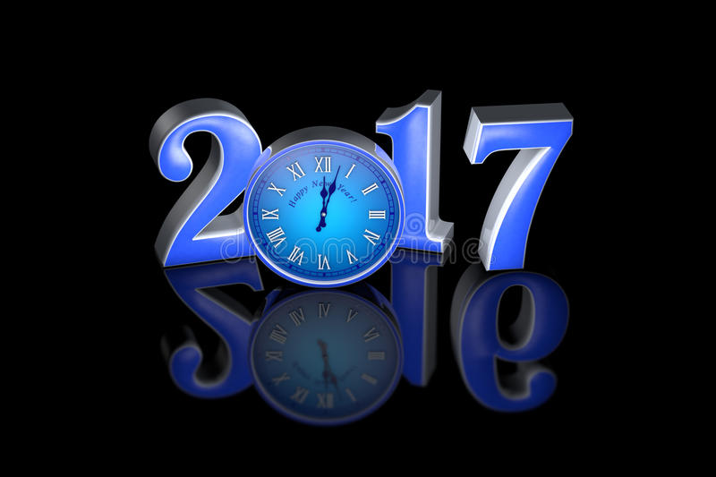 New Year 2017. Clock. Midnight. Christmas. 3D illustration. New Year 2017. The black mirror background. Christmas. 3D rendering. Available in high resolution and royalty free illustration