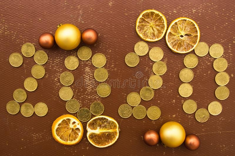 New Year 2020 With Coins stock image