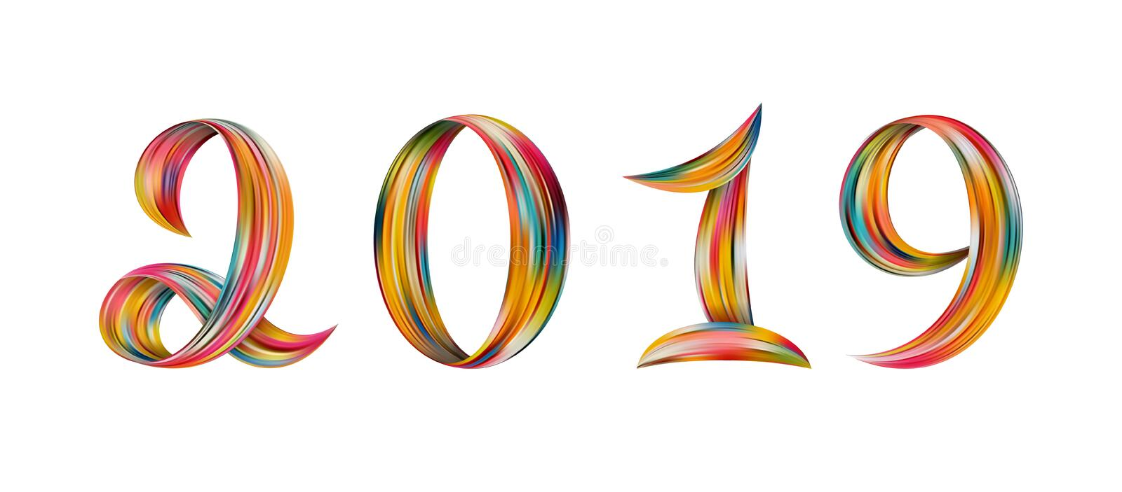 New Year 2019 color flow numbers white background. New Year 2019 color flow numbers for greeting card. Colorful vright symbols on white background. Vector vector illustration