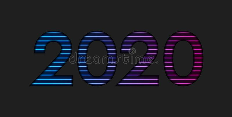 New Year 2020 colorful blue purple neon lights background vector illustration