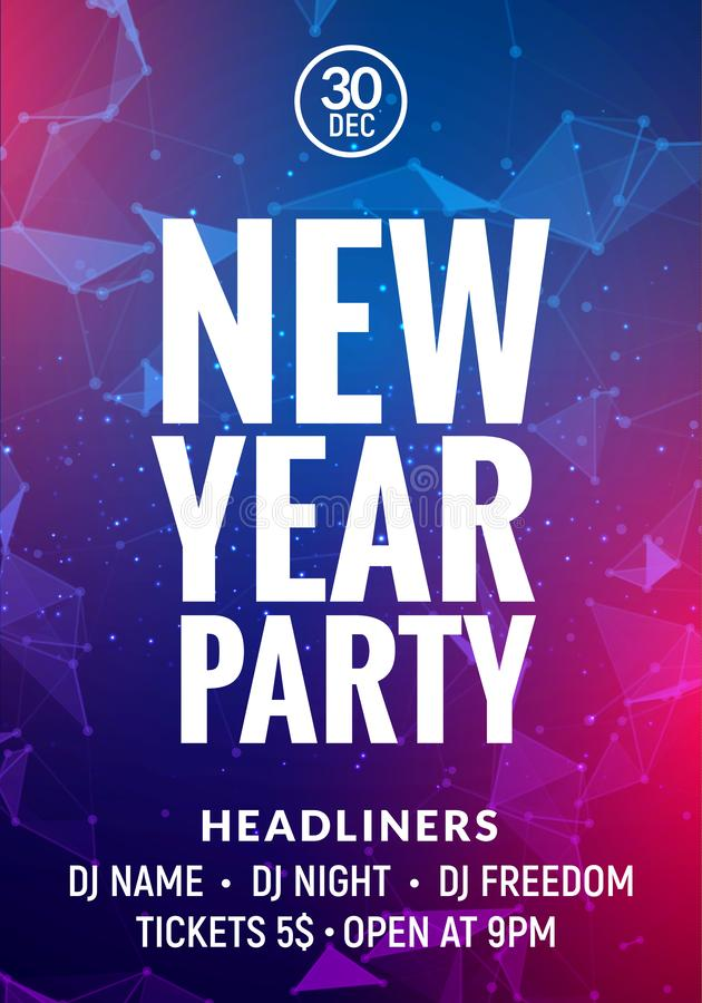 New Year colorful celebration party poster. New year card or banner glow background royalty free illustration