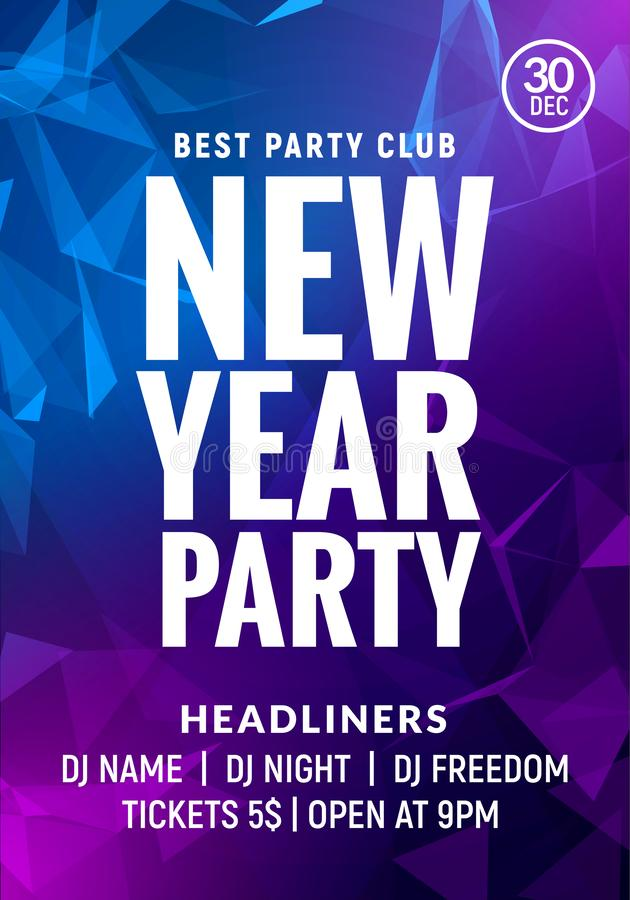 New Year colorful celebration party poster. New year card or banner glow background vector illustration