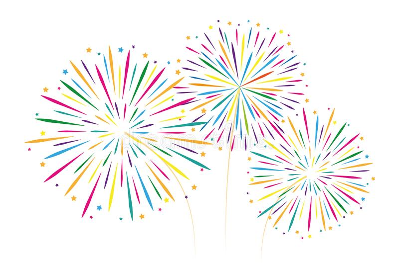 new year colorful fireworks decoration isolated on white backgro vector illustration