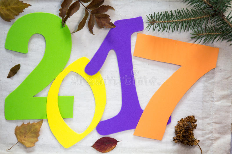 2017 new year. Colorful numbers on the background stock photo