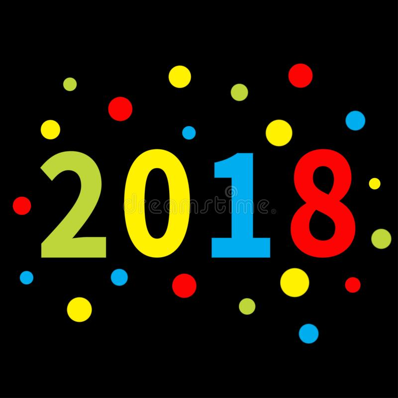 2018 New Year Colorful Round Dot Template For Greeting Card