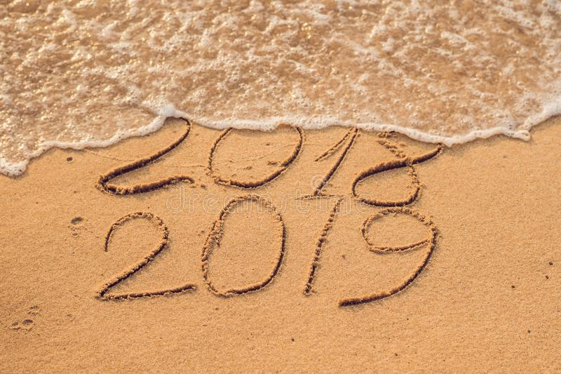 New Year 2019 is coming concept - inscription 2018 and 2019 on a royalty free stock images