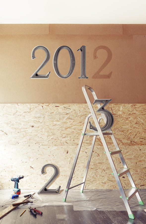 The New Year Is Coming Concept - Numbers 2013 Instead Of 2012 Royalty Free Stock Photography