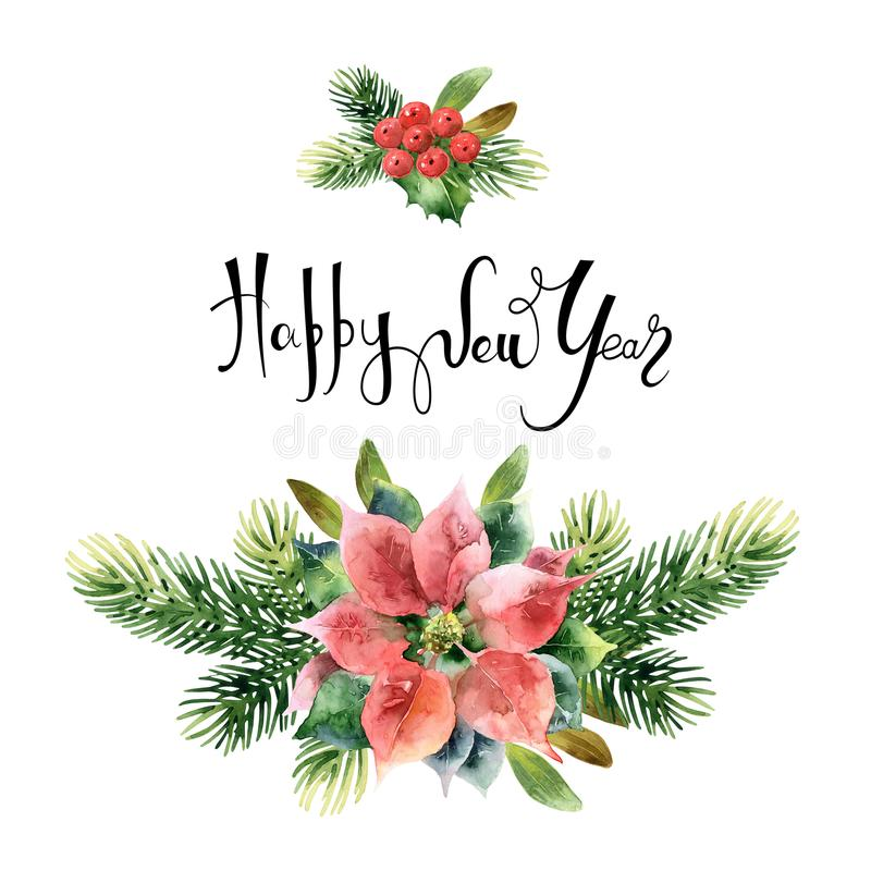 Christmas floral composition vector illustration