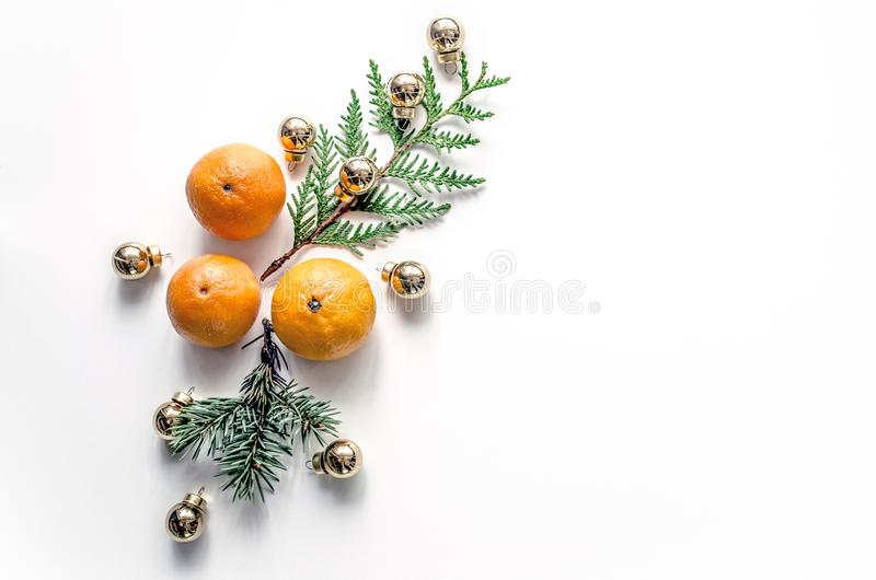 Download New Year Composition With Mandarins On A White Background. Christmas Background For Presentation Of Work Or Text. Stock Photo - Image of orange, healthy: 107140070