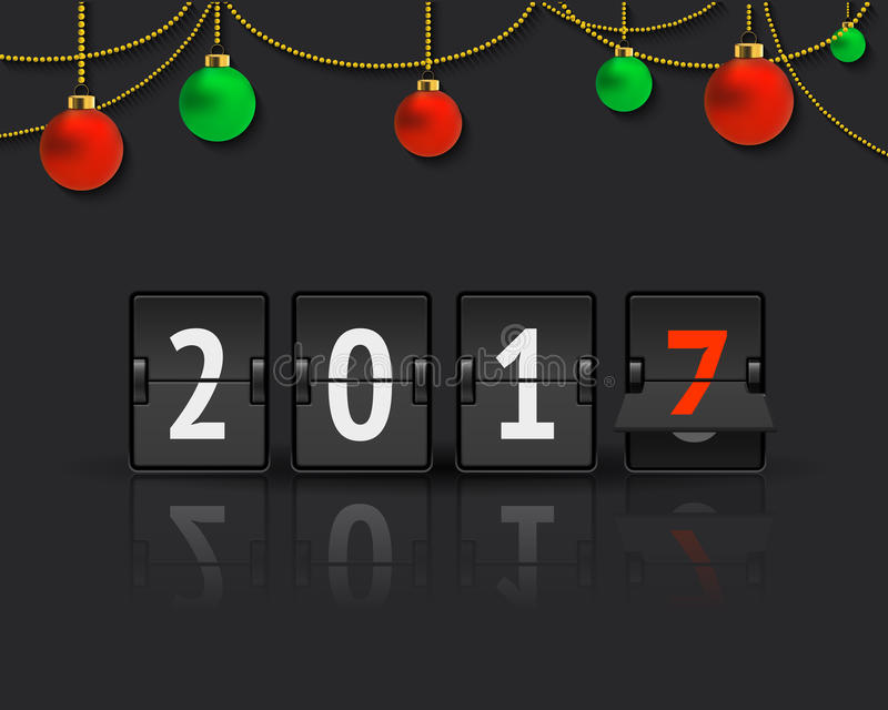 New Year concept with christmas balls. Flip board clock changing to 2017. Analog scoreboard flip calendar changes to another year. Digital countdown timer with stock illustration