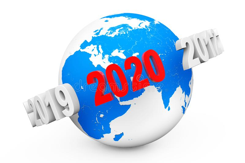 New Year Concept. 3d number 2020 around Earth Globe. 3d Rendering stock illustration