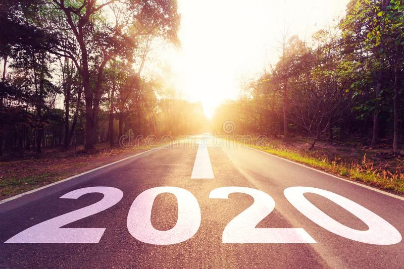 New Year Concept : Empty asphalt road sunset and New Year 2020.  royalty free stock photography