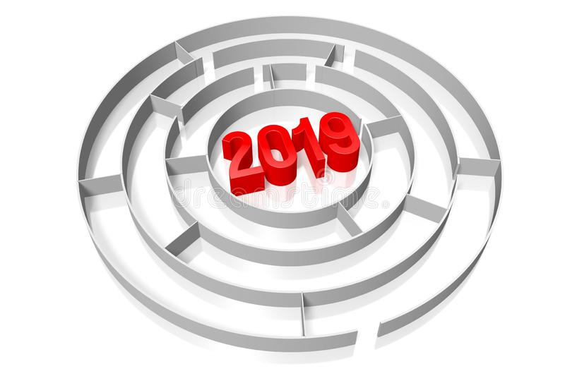2019 New Year concept - maze stock images