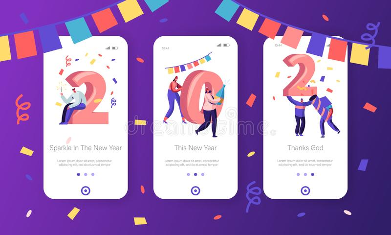 New Year 2020 Concept for Mobile App Page Onboard Screen Set. Happy People Celebrate Hold Huge Numerals vector illustration