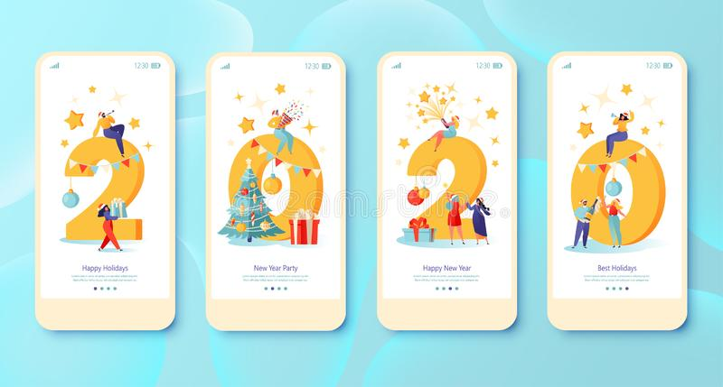 New Year 2020 concept for Mobile app page, onboard screen set. stock illustration