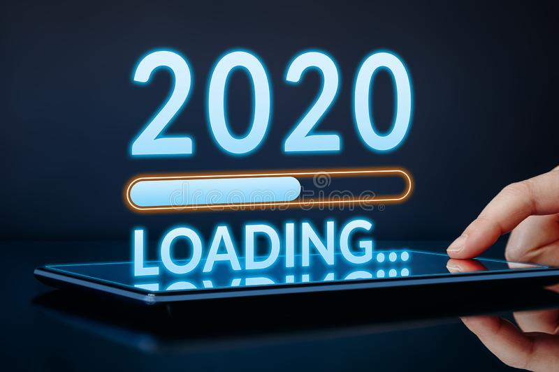 2020 New Year concept. Modern technology royalty free stock photos