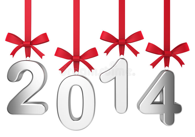 Download 2014 New Year Concept. Numbers Hanging On Nice Bows Stock Illustration - Image: 33986122