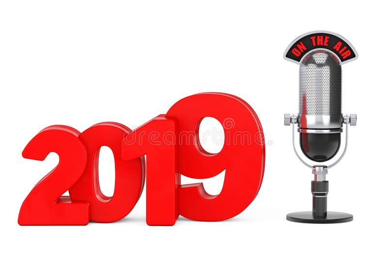 2019 New Year Concept. Red 2019 New Year Sign with Microphone an. D On The Air Sign on a white background. 3d Rendering royalty free illustration