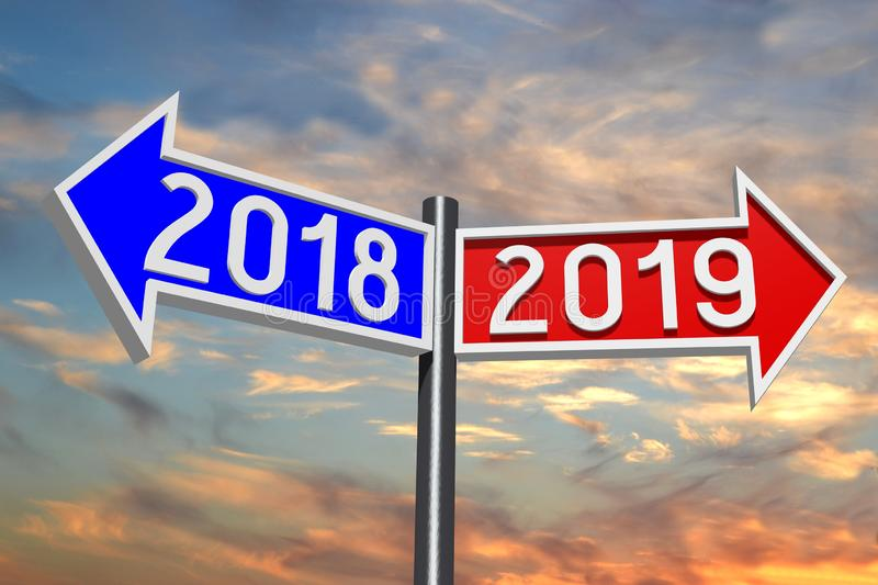 2019 New Year concept - signpost. Sky with clouds in background royalty free illustration
