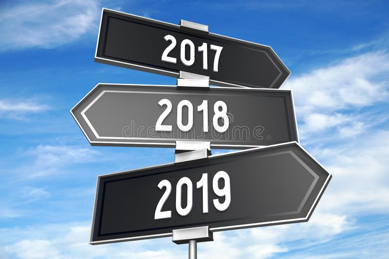 2019 New Year concept - signpost. Cloudy sky in background royalty free illustration