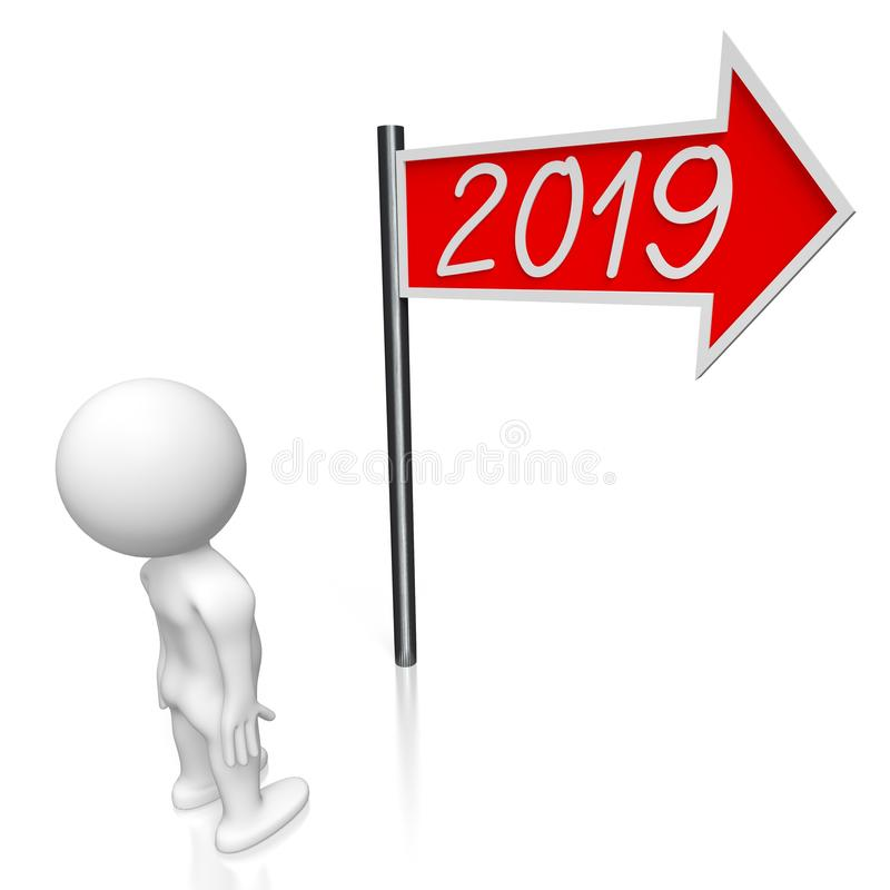 2019 New Year concept - signpost. White background stock illustration