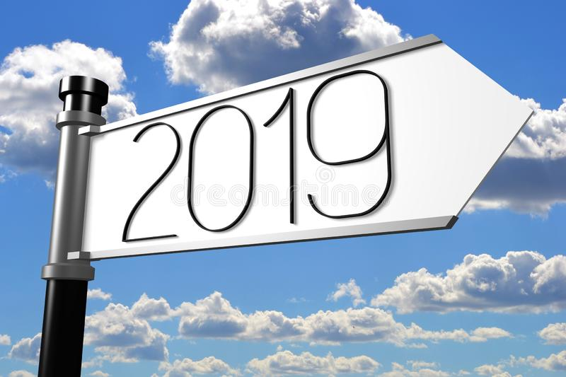 2019 New Year concept - signpost. Sky in background vector illustration