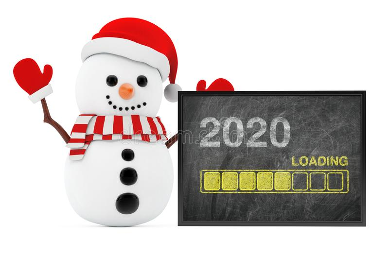 New Year Concept. Snowman near Chalkboard with Progress Bar Showing Loading of 2020 New Year. 3d Rendering royalty free stock photography