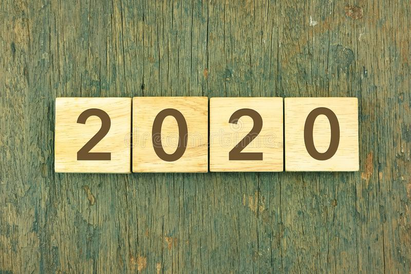New Year 2020 concept, wood texture background royalty free stock photography