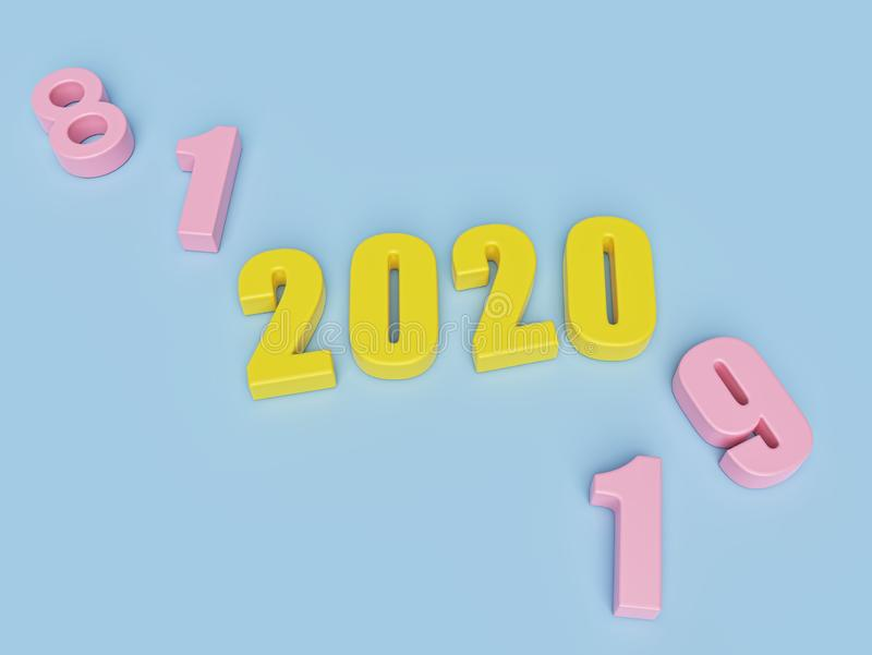 New year concept. yellow colored numbers 2020. minimal style. 3d rendering stock illustration