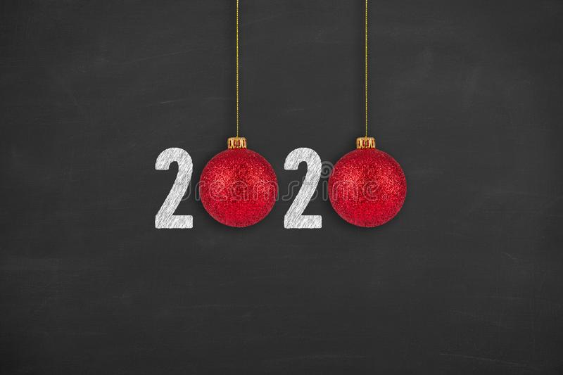 New year concepts 2020 on chalkboard background. New year concepts royalty free stock photo