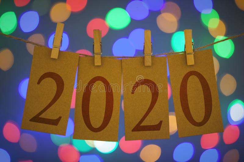 New Year 2020 Concepts Clipped Cards and Lights. New year concepts stock photography