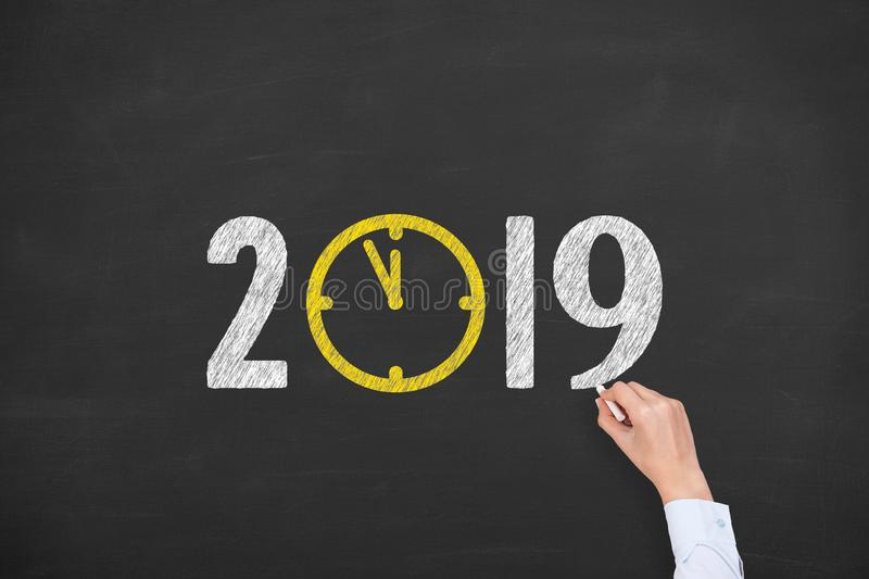 New year concepts 2019 countdown clock on blackboard. New year concepts royalty free stock photo