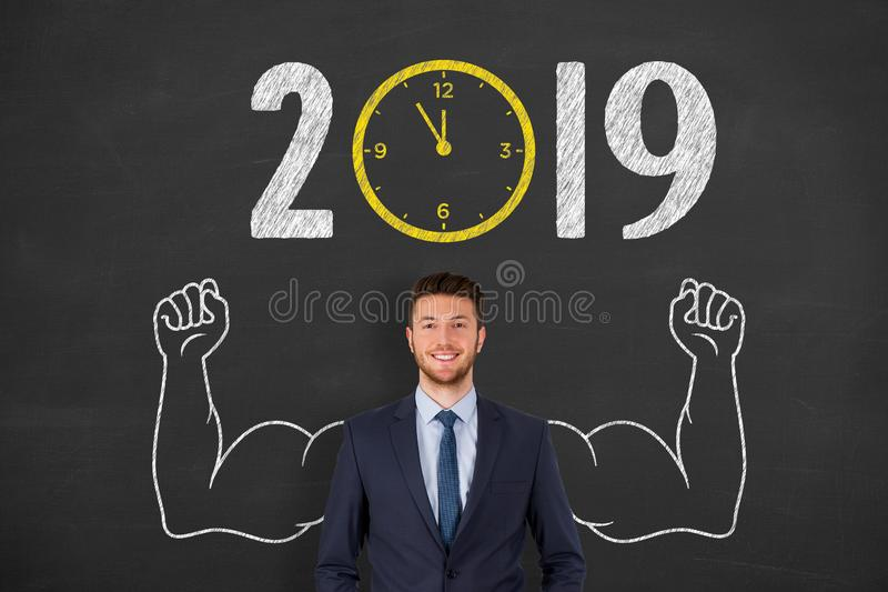 New year concepts 2019 countdown clock over human head. New year concepts royalty free stock photography