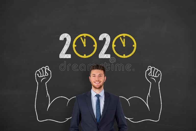 New year concepts 2020 countdown clock over human head on blackboard background. New year concepts royalty free stock photography