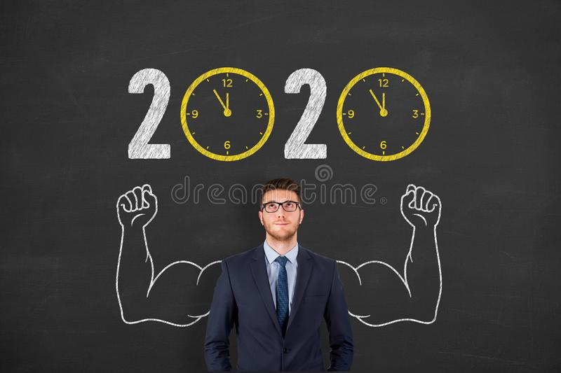 New year concepts 2020 countdown clock over human head on chalkboard background. New year concepts stock photo