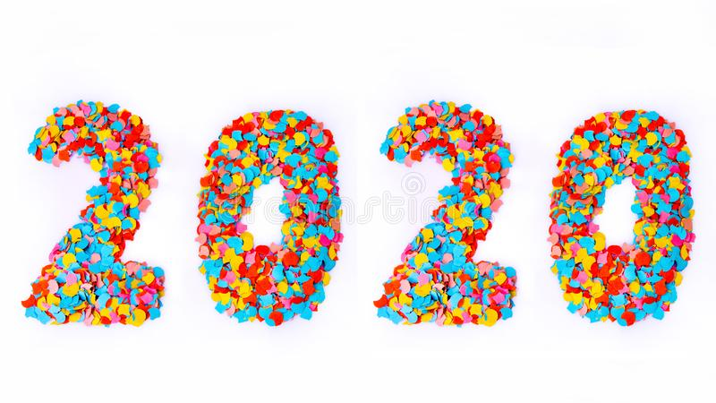 New Year - Confetti numbers 2020 - Isolated on white background stock photo