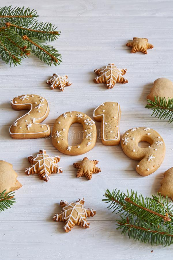 New year 2019 cookies and gingerbread stock photos