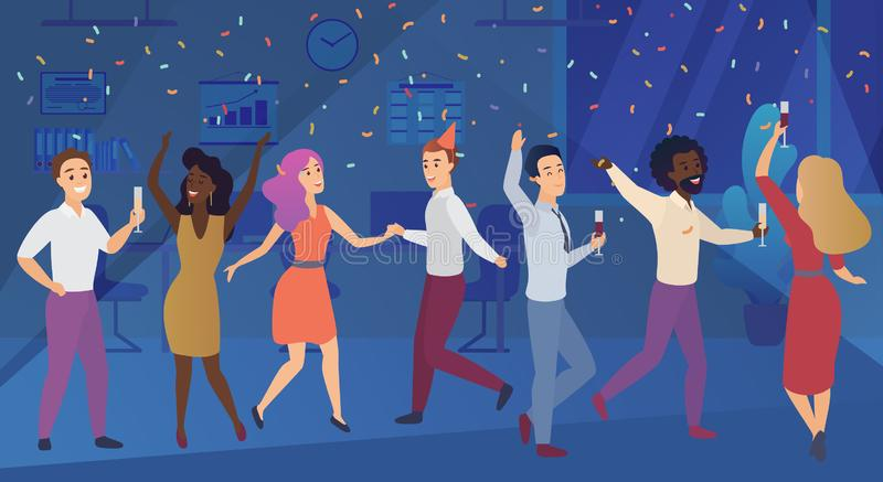 New year corporate party or birthday celebrating in office. Business team happy people celebrate vector illustration. stock illustration