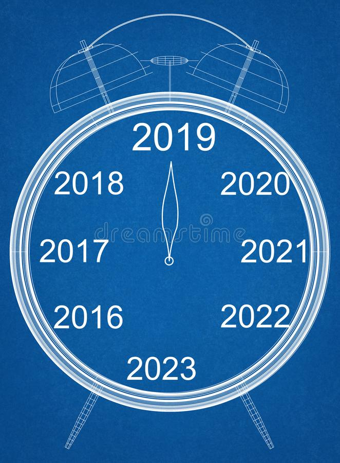 New Year countdown Clock Blueprint - isolated stock illustration