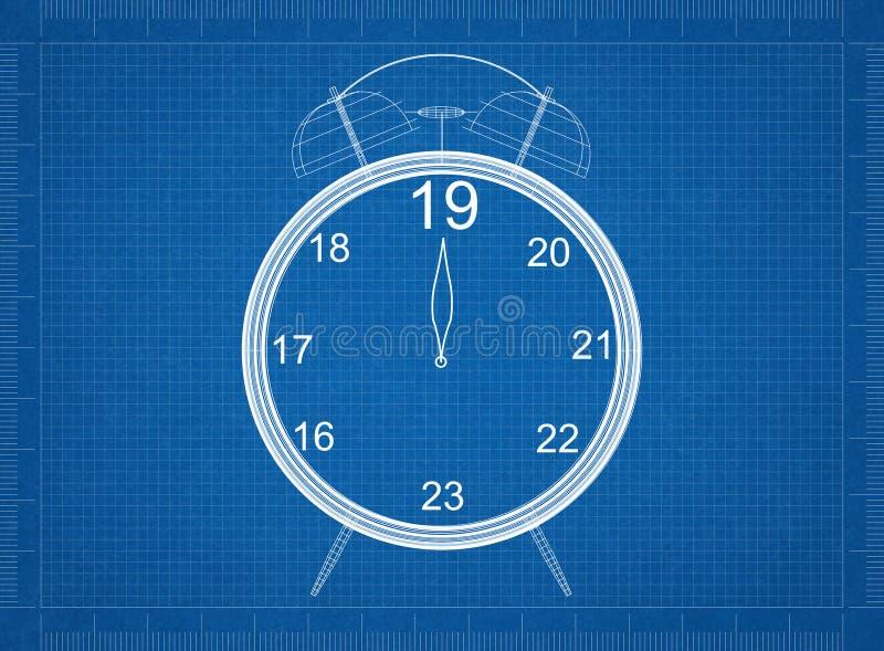New Year countdown Clock Blueprint royalty free stock photo
