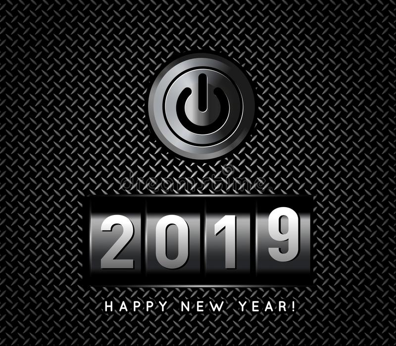 New Year counter 2019 with power button vector illustration. New Year counter 2019 with power button. Vector illustration vector illustration