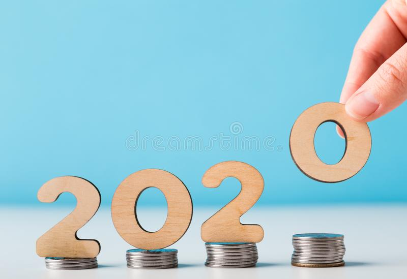 New 2020 year course for rising economic data royalty free stock photos