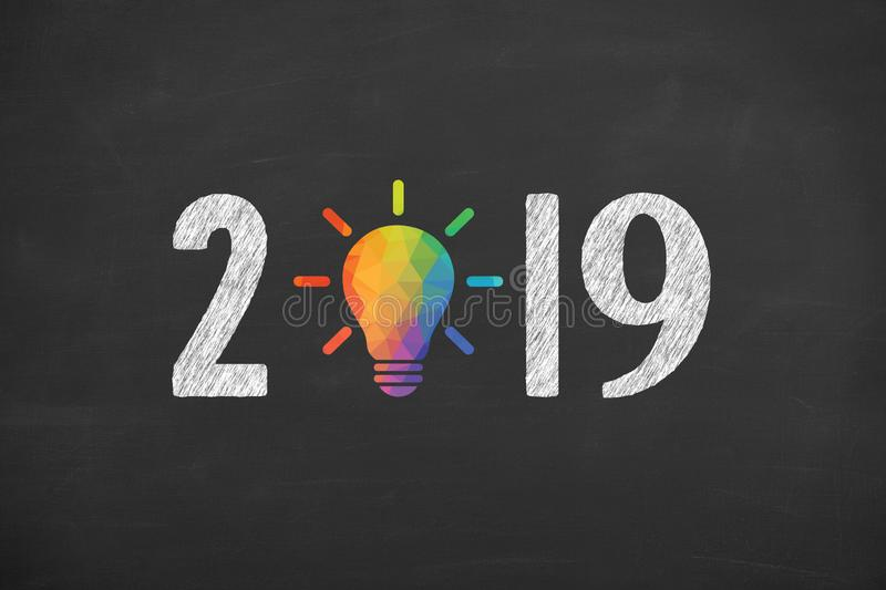 New Year 2019 Creative Concept on Blackboard Background stock photos