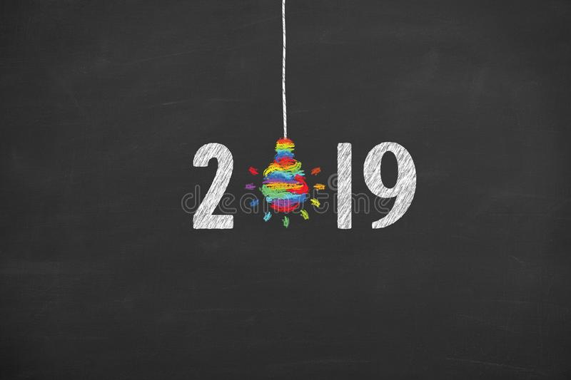 New Year 2019 Creative Concepts on Blackboard Background. New year concepts stock photo