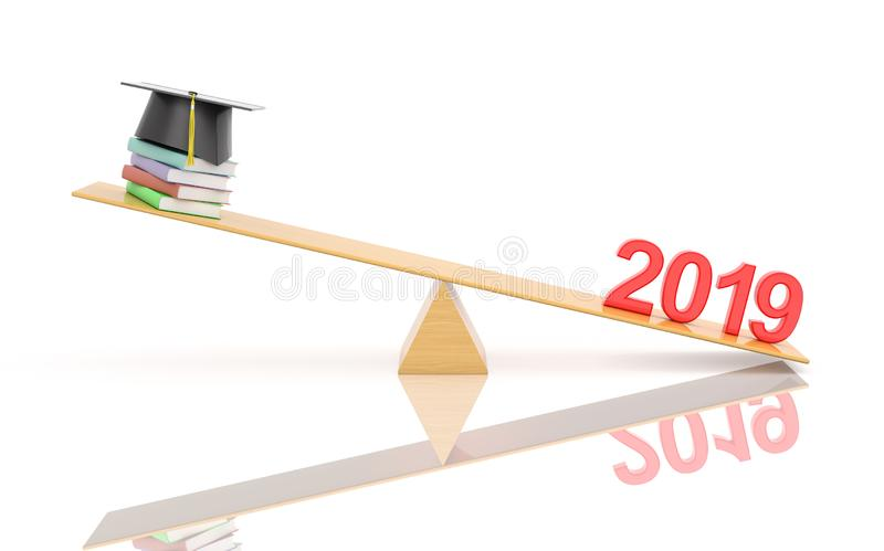 New Year 2019 Creative Design Concept - 3D Rendered Image. Year 2019 Creative Design Concept with Books - 3D Rendered Image stock illustration